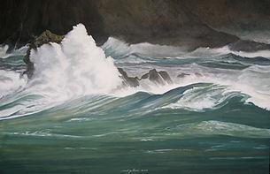 mer tourmentée, vagues jaillissantes, storm, waves,painting