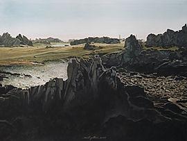 painting, art, rocky coast, maritime landscape côte escarpée, sombre, chemins