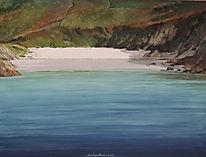 plage sable blanc, mer bleu intense et calme.lumière, art painting white beach, blue sea
