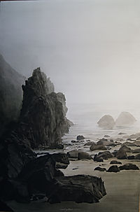 Brume, rochers plage mystérieuse, painting, rocky coast, mysterious.