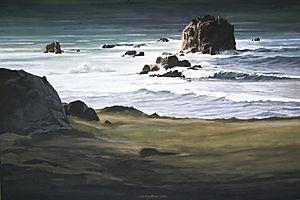 Vaste étendue de mer agitée par des vagues blanches. belle lumière, painting, art, maritime landscape, white wave