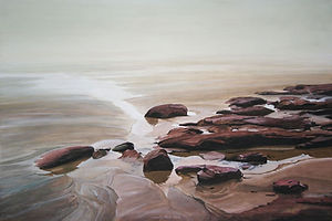 Painting art, sand, rocks, water,sable blond, ruisseaux, rochers rouges.