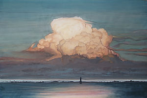 Enormous dark cloud at the base, bright and rosy by the setting sun, lighthouse dark sea, reflection of the cloud.  Enorme nuage sombre à la base, lumineux et rosi par le soleil couchant, phare mer sombre, reflet du nuage.