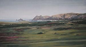 grande étendue de lande, chemins, au loin, la mer et la côte rocheuse, painting, land, maritime landscape.