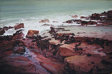 côte rocheuse, rouge, mer clapotante, rocks, sea, painting