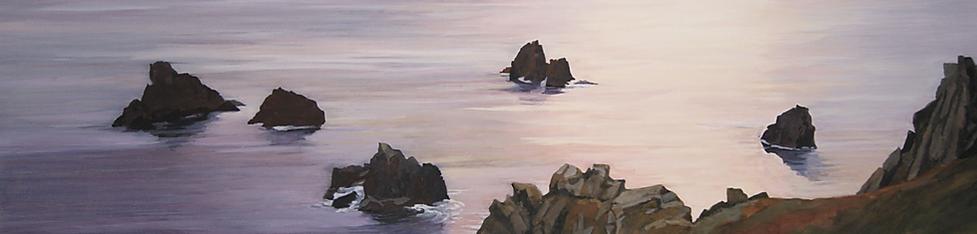 art painting, sea, quiet, morning light, rocks.