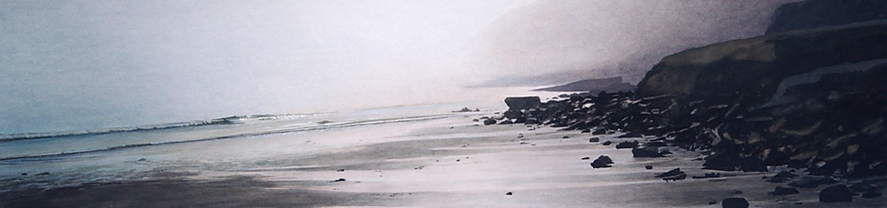 art, painting, beach the morning, dark rocks, sea, petit matin sur la plage, magnifique atmosphere.