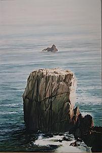 Art painting, Big rock, blue sea, withe waves Enorme rocher, majestueux au milieu des vagues blanches.