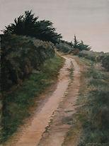 Sentier pentu qui se dirige vers un bosquet de d'arbres Art, painting, little road, trees.