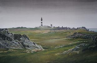 landscape, painting, art, Vaste étendue de lande, chemins, phare