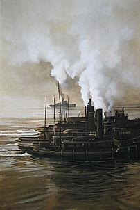 Bateaus au temps de la vapeur. Volutes de fumée blanche, couleur sépia.