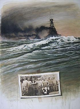 Bateaux de guerre sur mer déchaînée. Dessin d'équipage.