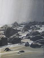 Art painting, beach, rocks, plage semée de rochers. Ambiance brumeuse.