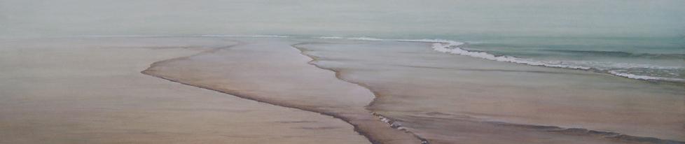 Art painting, beach in summer, plage en été, brume légère, mer calme et transparente.