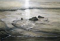 Art, painting, morning light on the sea.La lumière matinale éclaire un jeu de la mer autour de cailloux.