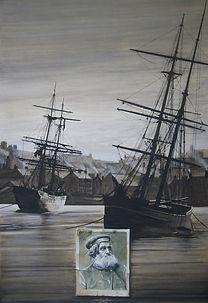 Deux bateaux de pêche dans un port, laville au loin. portrait dessiné d'un vieux pêcheur.