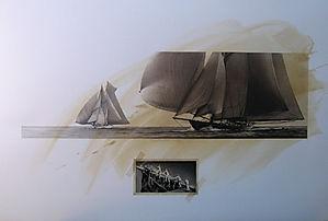 Deux grands et superbes voiliers voguent  toutes voiles gonflées. Dessin de l'équipage