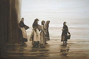 Groupe de femme de pêcheurs qui attendent le retour des bateaux