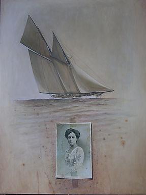 Grand voilier majestueux, portrait de femme.