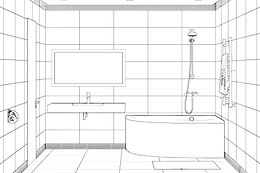 3d illustration. Sketch of modern bathro