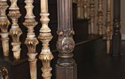 Hand carved wood spindles