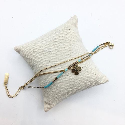 Omacoo — Bracelet 3 rangs perles Trèfle