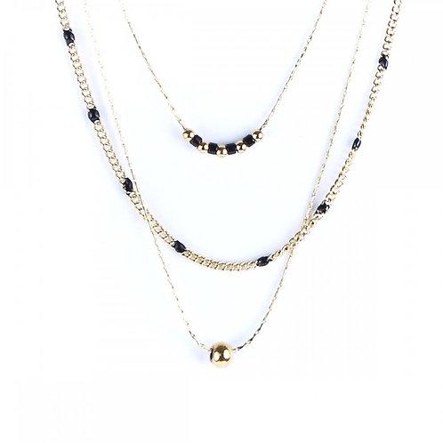 Litchi — Collier trois rangs Anna noir
