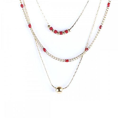 Litchi — Collier trois rangs Anna rouge