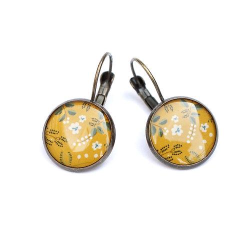 Lilipoetry — Boucles d'oreilles dormeuses MM Floral Jaune