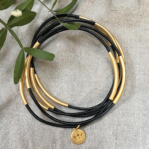 Sence — 5 Bracelets cuir noir et laiton doré