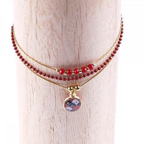 Litchi — Bracelet triple Vagabonde rouge
