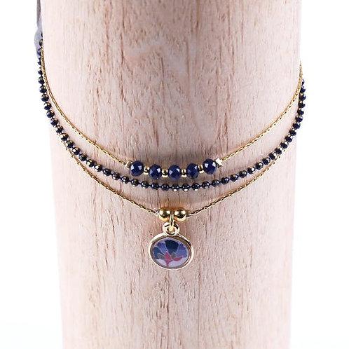 Litchi — Bracelet triple Vagabonde bleu marine