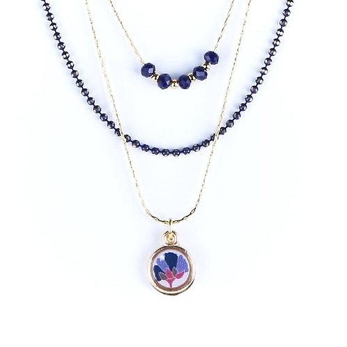Litchi — collier triple Vagabonde bleu marine