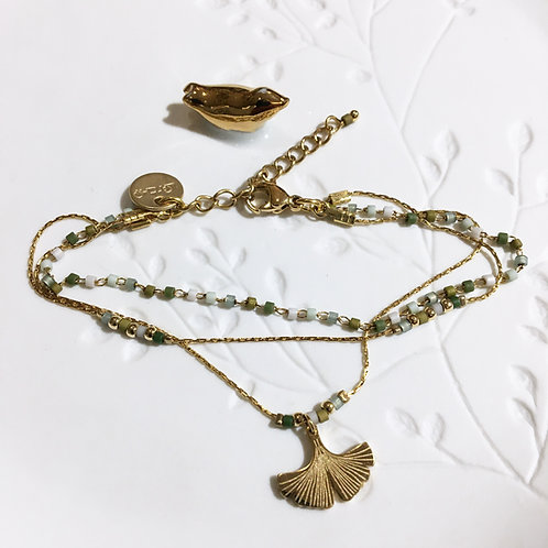 Litchi — Bracelet triple  ginkgo