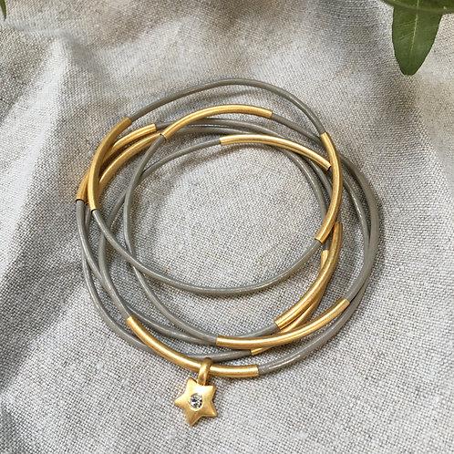 Sence — 5 Bracelets cuir gris et laiton doré