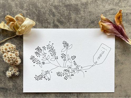 Papillon Papillonnage — Carte Merci musette