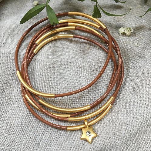 Sence — 5 Bracelets cuir brun et laiton doré