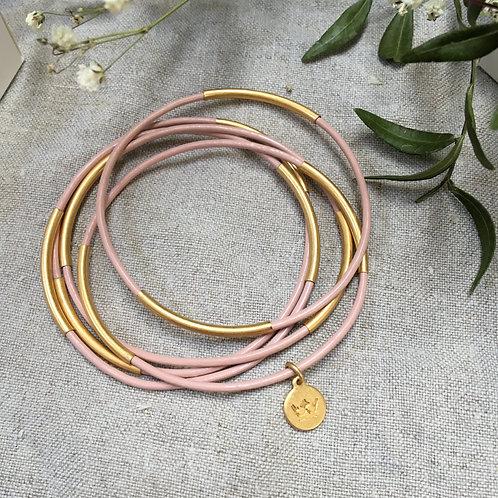 Sence — 5 Bracelets cuir bois de rose et laiton doré