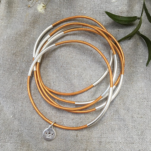 Sence — 5 Bracelets cuir  caramel et laiton argenté