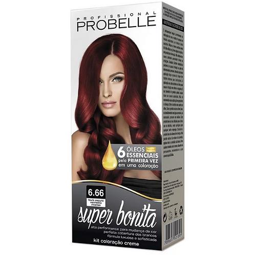 Coloração Probelle Super Bonita 6.66 Louro Escuro Vermelho Intenso 50g