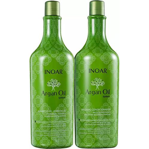 Kit Inoar Argan Oil System Shampoo 1L + Condicionador 1L
