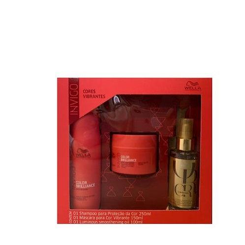 Kit Wella Color Brilliance: Shampoo 250ml +Máscara 150ml e Oil Reflections 100ml