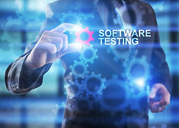 "Businessman is selecting ""Software testi"
