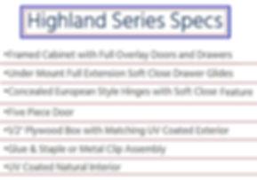 Highland Series Specs | Buckeye Kitchen & Bath Design