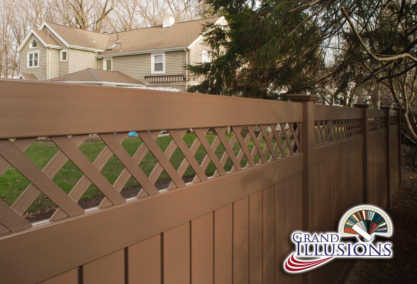 Brown Lattice Top Pvc Fence