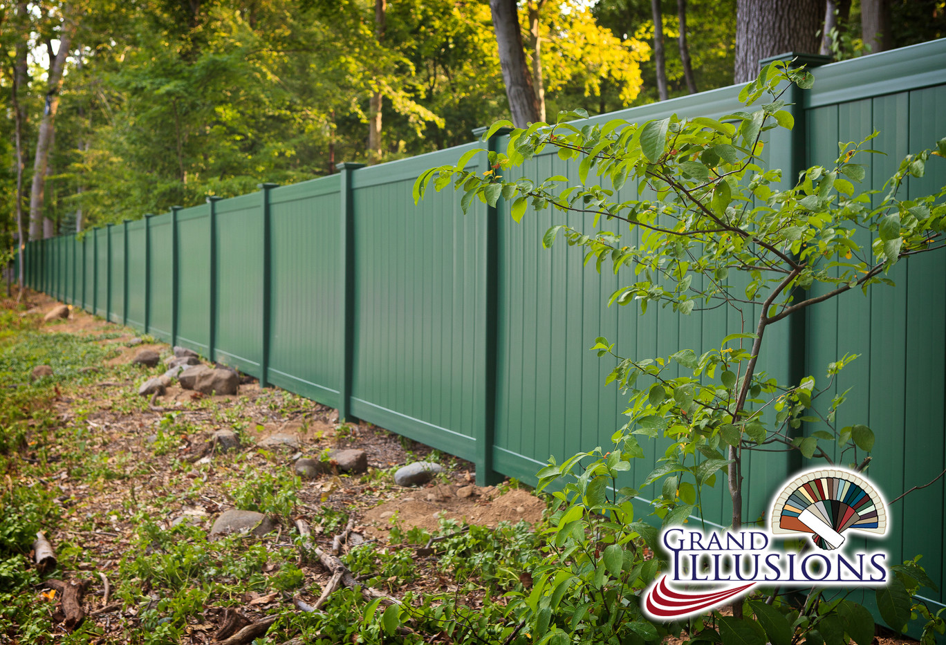 Grand illusions green pvc fence