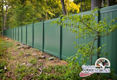 Grand illusions green pvc fence