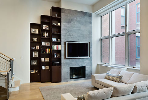 Manhattan Triplex modern living room and fireplace
