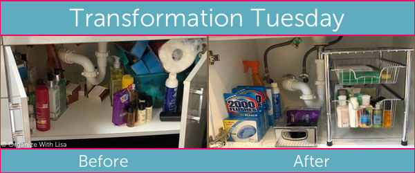Left side: messy bathroom vanity cupboard. Right side: Tidy bathroom cupbard with organizing tools addedvanity