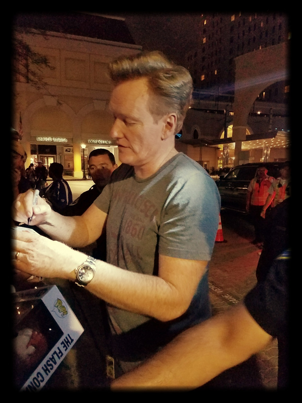 Conan O'Brien signing Funko Pop